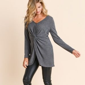 Doe & Rae Charcoal Twist Front Sweater Top NEW NWT